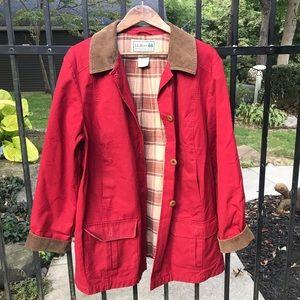 L.L. Bean red, flannel lined Adirondack barn coat